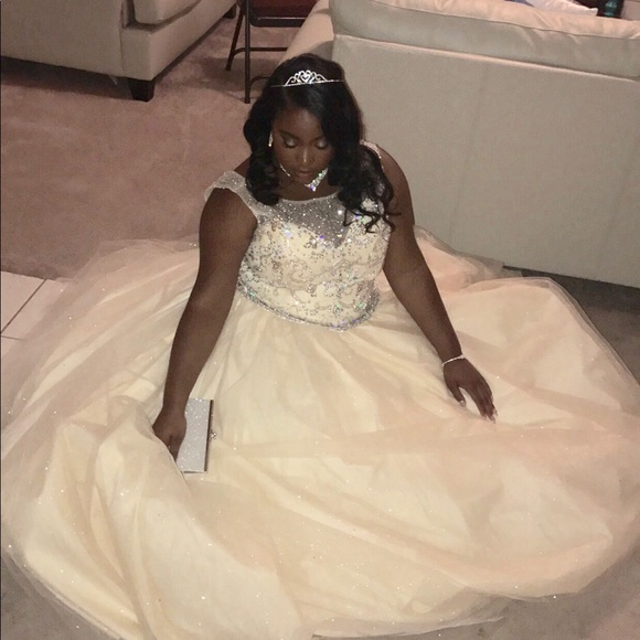 Plus size champagne Quinceanera dress
